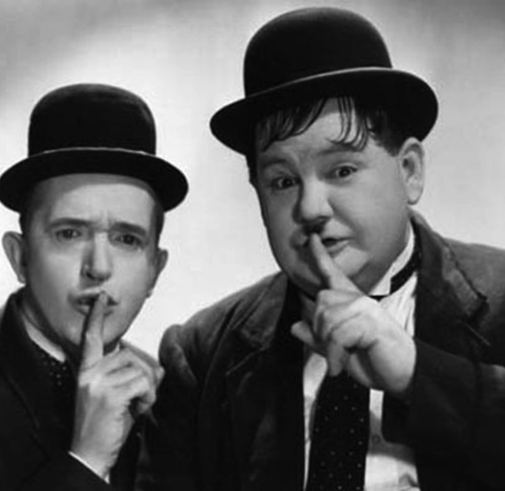 "Stan and Ollie say ""Ssshhh"""