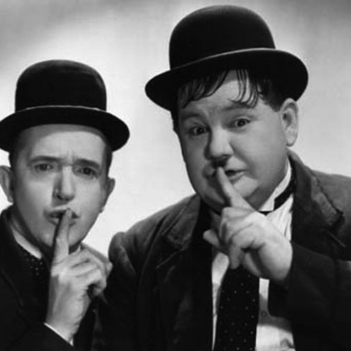 """Stan and Ollie say """"Ssshhh"""""""